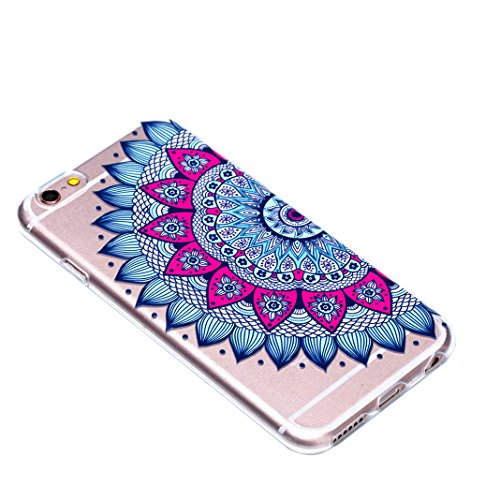 3 Pack Schutzhülle für iPhone 6S, Rosa Schleife Ultra Dünn Soft TPU Silikon Hülle Backcover Case für iPhone 6/ 6S Transparent Handyhülle Bunte Muster Cover 3 Stück - Mandala Schmetterling