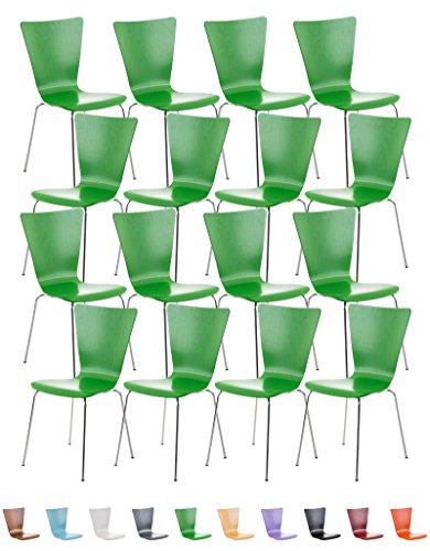 CLP Lot de 16 Chaises en Empilables Robustes AARON, Chaise Empilable en Bois avec Dossier, Chaise Visiteur avec Siège Ergonomique et Confortable, Charge Max. 120 kg, Hauteur Assise 45 cm, 10 Couleurs au choix: vert