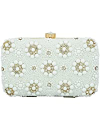 Tooba Handicraft Party Wear Hand Embroidered Box Clutch Bag Purse For Bridal, Casual, Party, Wedding