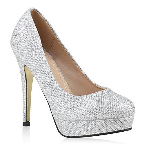stiefelparadies Damen Plateaupumps mit Stiletto Absatz Schuhe 144595 Silber Gold Autol 39 Flandell