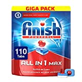 Finish Pastiglie Lavastoviglie All in 1 Max, Regular, 110 Tabs