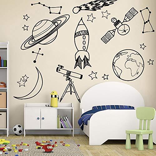 Dongwall Wandaufkleber Für Kinderzimmer Astronomie Werkzeug Raumfahrt Astronomie Schule Deocr Wandvinyl Aufkleber Abnehmbare Kindergarten Wandtattoos 56 * 58 cm