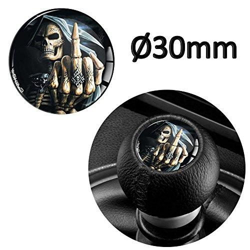 Skino 1 x Schalthebel Aufkleber Schaltknauf Emblem Silikon Sticker Skull Totenkopf Schädel Mittelfinger Durchmesser 30mm Auto Moto Zubehör Motorrad Tuning JDM S 39