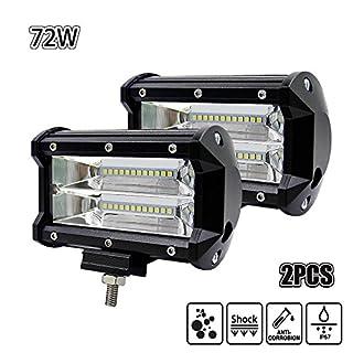 Echoming LED Arbeitsscheinwerfer 5 Inch 72W Cree LED Zusatzscheinwerfer 10800LM Auto Scheinwerfer Offroad Flutlicht Spotlight 6000K Wasserdicht IP67 Arbeitslicht 12V (2 Stück)