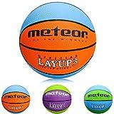 meteor Balón Baloncesto Talla 3 Pelota Basketball Bebe Ball Infantil Niño Balon Basquet - Baloncesto Ideal para los niños y jouvenes para Entrenar y Jugar - Tamaño 3 Layup (#3, Azul/Naranja)