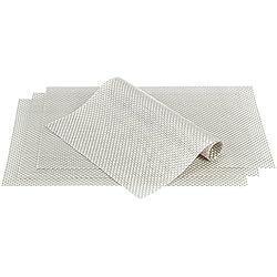Manteles individuales Culinato® de color plata, elegantes, decorativos, modernos y resistentes en un juego de 4 unidades (45x30cm)