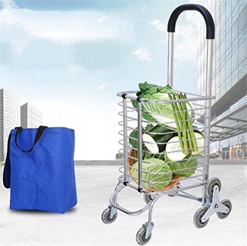 FFJTS Warenkorb Aluminium Falten Portable Klettern Treppen Supermarkt Supermarkt Lebensmittelgeschäft Warenkorb , A (Keine Falten-khaki)