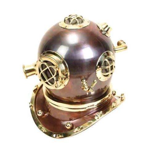 Kostüm Brs (EcWorld Enterprises 7728215 Full Size Antique Reproduction U.S. Navy Mark V Brass Diving Helmet by)