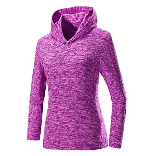 Hankyky Damen Sweatshirt Workout Pullover Hoodies Langarm-Kapuzen Schnell Trocknend Sportswear für Lauftraining Ausbildung Fitness (Langarm-ausbildung Leichtes)