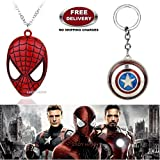 (2 Pcs AVENGER SET) - SPIDERMAN MASK IMPORTED PENDANT & CAPTAIN AMERICA REVOLVING KERCHAIN. LADY HAWK DESIGNER SERIES 2018. ❤ ALSO CHECK FOR LATEST ARRIVALS - NOW ON SALE IN AMAZON - RINGS - KEYCHAINS - NECKLACE - BRACELET & T SHIRT - CAPTA