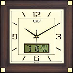 Decent Wall Clock from Rikon - Sweep Model (No Tick Tick) with LCD Display - 1 Year Warranty - III