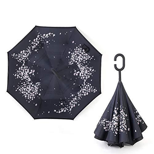 Regenschirm Taschenschirm Automatikschirm Winddicht kompakt und leicht und stabil,Umkehrschirm Doppelschirm gerade Stange Schatten colour4 80cm