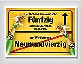 Ortsschild Bild Geschenk Fest Geburtstag personalisiert 50
