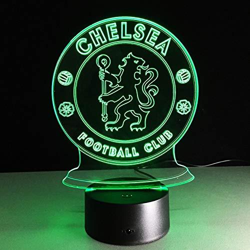 Chelsea Logo, Nachtlicht, 3D Illusion Nachtlampe, 16 Farben, Acry Panel, LED, Remote switch Touch-Schalter, beste Geschenk, Ferienhaus, Dekoration -