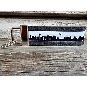 Schlüsselanhänger Schlüsselband Wollfilz anthrazit Berlin Skyline schwarz weiß!