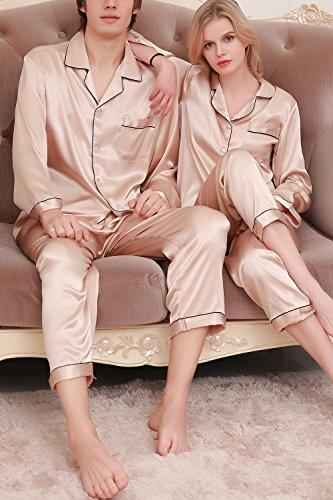Dolamen Damen Satin Schlafanzug Nachthemd Negliee, Sleepshirt Paare Schlafanzug Silk, Luxus und Attraktiv Ladies lang Nachtwäsche Nachtkleid Lingerie Pyjamas Sleepwear Gold