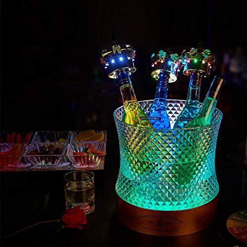 Aegilmc LED Eiskübel, Kristall Leuchten Kühlbehälter Wasserdicht Farbwechsel Leuchtend Wiederaufladbar Für Wein & Champagner & Bier, Bar, Club, Party, Hochzeit,3L - Bier-lagerung