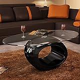 Tidyard Tavolino da Salotto, Tavolino da caffè con Ripiano Ovale in Vetro 8 mm di Spessore, 115x65x40 cm Nero Lucido