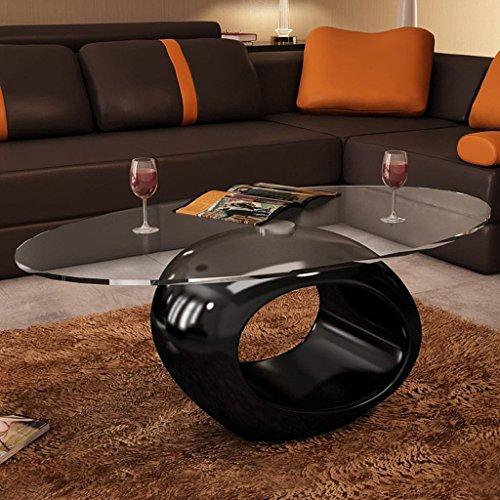 Tidyard- Tavolino da Salotto, Tavolino da caffè con Ripiano Ovale in Vetro Nero Lucido