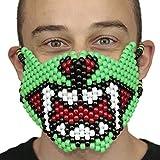 """Masque Kandi """"Mâchoire de Monstre Vert"""" complet - Kandi Gear, masque pour rave party, masque pour Halloween, masque de perle pour festivals de musique et fêtes"""