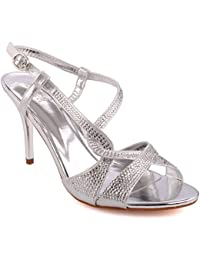 Unze Femmes 'Steve' Glittery Strappy Faible Moyenne Haute Talon Party Prom Get Together Brunch Carnaval Mariage Soir Sandales Talons Chaussures Uk Taille 3-8