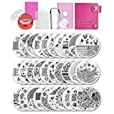Biutee Nail Art Plates 30pcs Nail Stamping Kit Flower Animal Image Nail Stamping Plate Nail Art Tools Stamping with 2 Stamper 2 Scraper 1 Storage Bag 1 Plate Holder