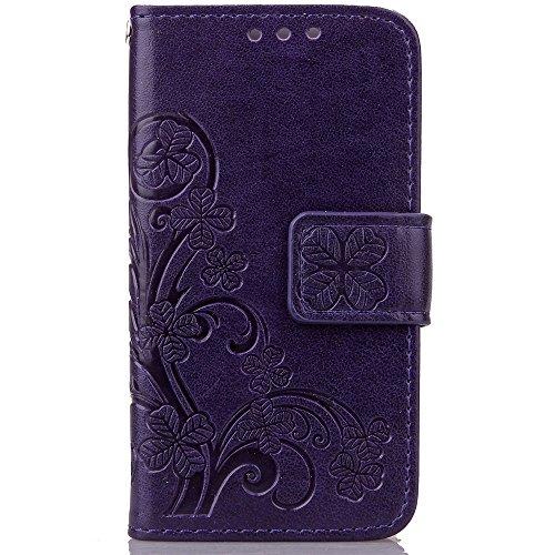 iPhone Case Cover Wallet Case 2 en 1 PU cuir Folio coquille de protection magnétique détachable TPU intérieur arrière couvercle avec des slots de carte et bracelet pour IPhone 4S ( Color : Light Purpl Purple