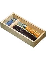 Opinel Nr.8 - Navaja con estuche regalo de madera (funda de piel sintética)