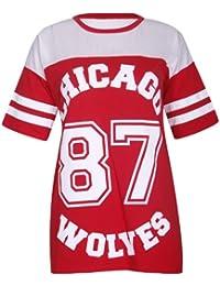 Purple Hanger - T Shirt Femme Motif Chicago Wolves 87 Col Rond Manches Courtes
