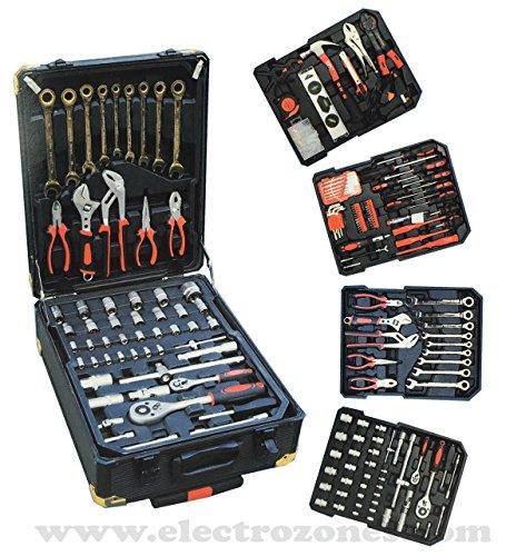 KRAFT WORLD Werkzeugkoffer Werkzeugtrolley mit Werkzeug gefüllt Profi | 4 Ebenen | Teleskopgriff |...