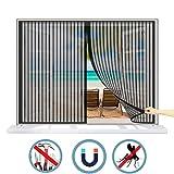 WISKEO Fliegengitter Fenster Klettband Magnet Verschiedene Größen Moskitonetz Gross Anti-Moskito Insektenschutzgitter Rolle Magnetverschluss Schiebe Dach - Schwarz 135x125cm(WxH)
