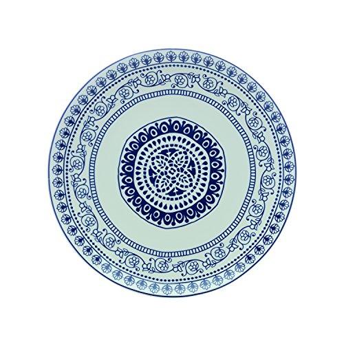 Fitz & Floyd IG31031 Blue Antico Round Platter-11 Serving Platter, 11, White/Blue Floyd Serveware