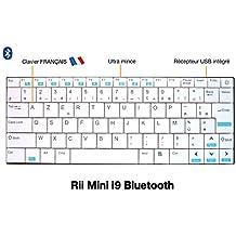 Rii Mini i9bluetooth (AZERTY)–Ultra Slim mini teclado para Smartphones, Tablets, Mini PC, smart tv, ordenador Blanche