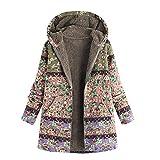 OIKAY Plus Größe Damen Mit Kapuze Langarm Baumwolle Leinen Flauschigen Pelz Reißverschluss Outwear Mäntel(S5-Rosa,EU-40/XL)