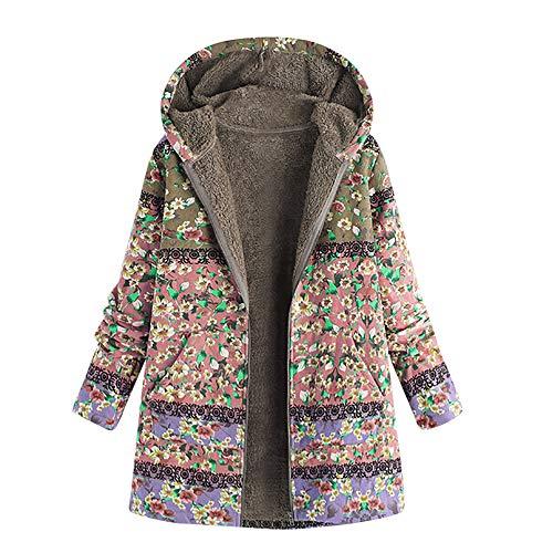 ZHANSANFM Hoodie Frauen Langarm Baumwolljacke Multi Pattern Trenchcoat mit Kapuze Dicker Size Plus Baumwolle Leinen Flauschigen Pelz Reißverschluss Jacke Outwear Mäntel Schöne (XL, Rosa) -