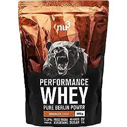nu3 Whey protéines performance - 1kg Chocolat - Shake pour prise de masse musculaire rapide à préparer - Excellente solution sport et délicieux goût chocolat - Riche en protéines naturelles