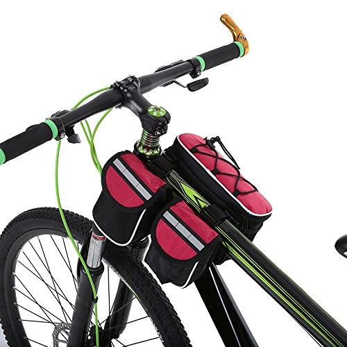 Docooler Fahrrad-Rahmentasche/Top Tube Bag/Fahrrad Handytasche, Material: Oxford Tuch Rot