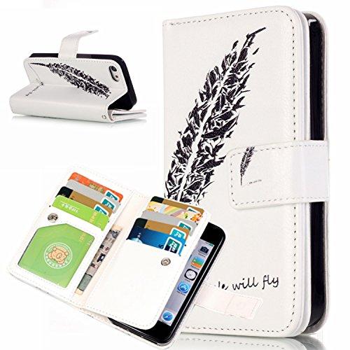 Beiuns Étui en Simili cuir pour Apple iPhone 5 5G 5S / iPhone SE (4 pouces) Housse Coque - N196 Motif léopard + papillon N203 Plume Noir
