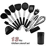 Ustensile Set de cuisine en silicone en acier inoxydable Ustensiles Spatule 13 Pieces antiadhésifs avec boîte de rangement de cuisine Outils de cuisine