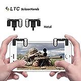 """TLC LTC """"Scissorhands"""" Gatillos M2 para Juegos de teléfono móvil, Botones de Metal, Disparo Sensible y puntería como L1R1 Joystick para PUBG, para Android o para teléfonos Inteligentes iOS- Negro"""
