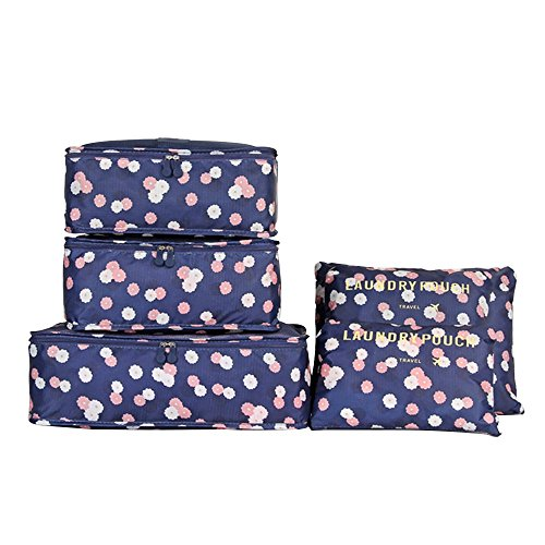 CoCogo 6 Sets Travel Organisers Packing Cubes Laundry Bag Luggage Compression Pouches (navy Flower)
