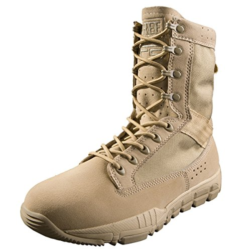 27f205270b2c8 FREE SOLDIER Men's Suede Leather Tactical Boots Mid Cut Breathable  Lightweight Hiking Shoes (7 UK,Sand Color)