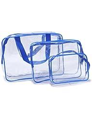 txian 3x transparent à la main Pochette Sac fait de matériaux de PVC imperméable avec fermeture Éclair Idéal pour lavage de voyage Trousse à maquillage Extérieur Sport Randonnée Sacs