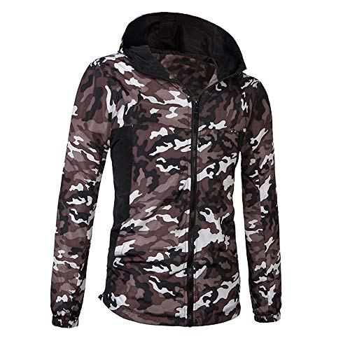 Homme Loisir Sweater Imprimé Camouflage ExtéRieur Vent Occlusion Manteau à Capuche Veste Casual Sweatshirt Sport Pullover Blouse Blouson Pardessus Blanc XL
