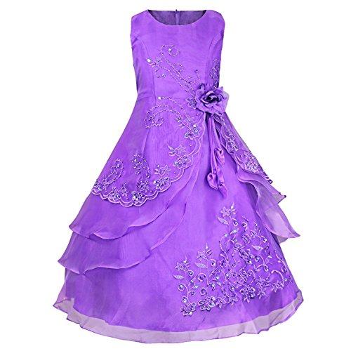 Tiaobug Kinder Mädchen Kleider Festlich 104 110 128 140 152 164 Blumenmädchen Kleidung Lila 152-164 (Lila Kleid Blumenmädchen)