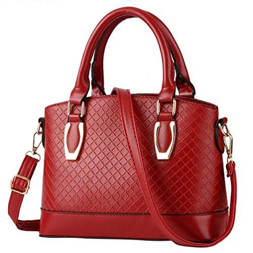 Baymate Borsa Elegante Donna A Spalla Mano Shopper Pelle con Tracolla Regolabile Vino Rosso