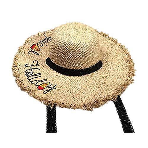 Sonnenhüte Damen UV Schutz Dasongff Damen Klappbare Kappe Flexible Sommer Strand Sonne Hüte Besticken Brief Strohhut Fransen Lace Spitze für Tourist Strand Camping Picknick