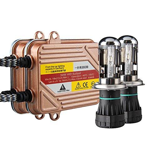 Preisvergleich Produktbild Koyoso H4 Lampen 50W Schlank HID Bi-Xenon Scheinwerfer Nachrüstsatz Set Schnellstart Ersatzlampen 8000K