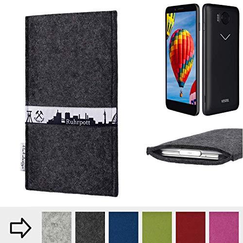 flat.design für Vestel V3 5030 Schutzhülle Handy Tasche Skyline mit Webband Ruhrpott - Maßanfertigung der Schutztasche Handy Hülle aus 100% Wollfilz (anthrazit) für Vestel V3 5030