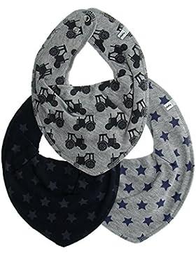 Pippi 3er Pack Baby Jungen Halstuch mit Aufdruck, Farbe: Blau und Grau, One Size, 4453